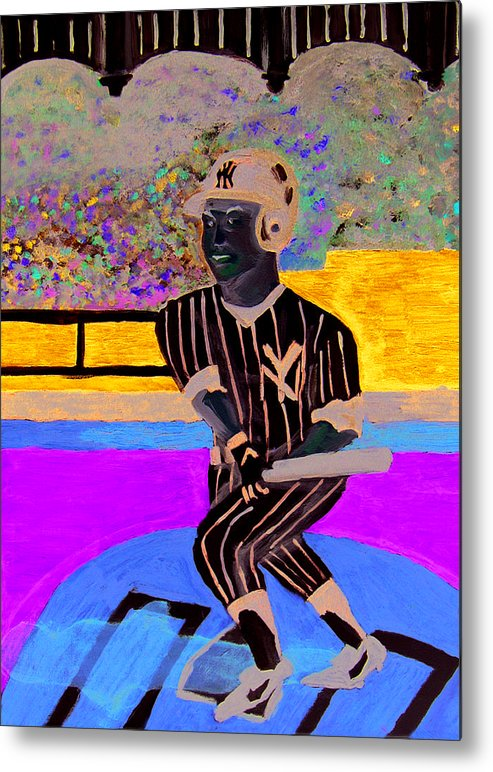 Derek Jeter Metal Print featuring the painting Derek Jeter by Jeff Caturano