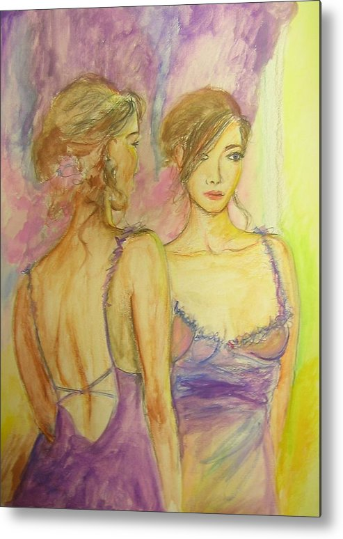 Feminine Metal Print featuring the painting Distracted by Lizzy Forrester