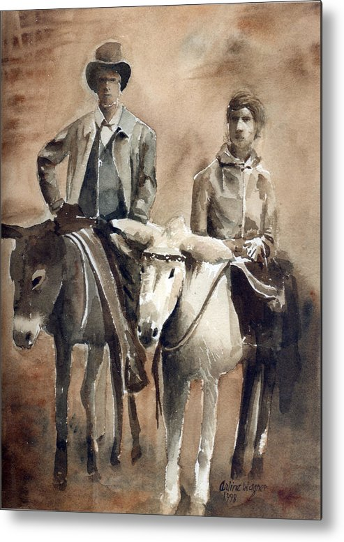 Donkey Metal Print featuring the painting Donkey Ride by Arline Wagner