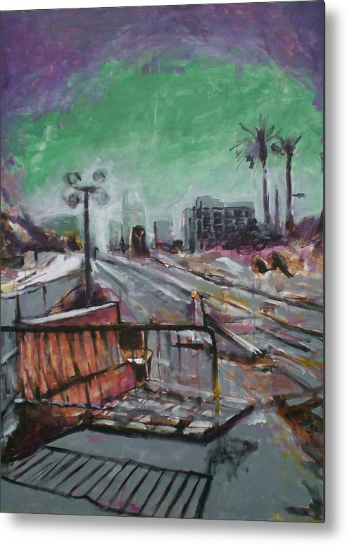 Metal Print featuring the painting Downtown Now In Progress by Aleksandra Buha