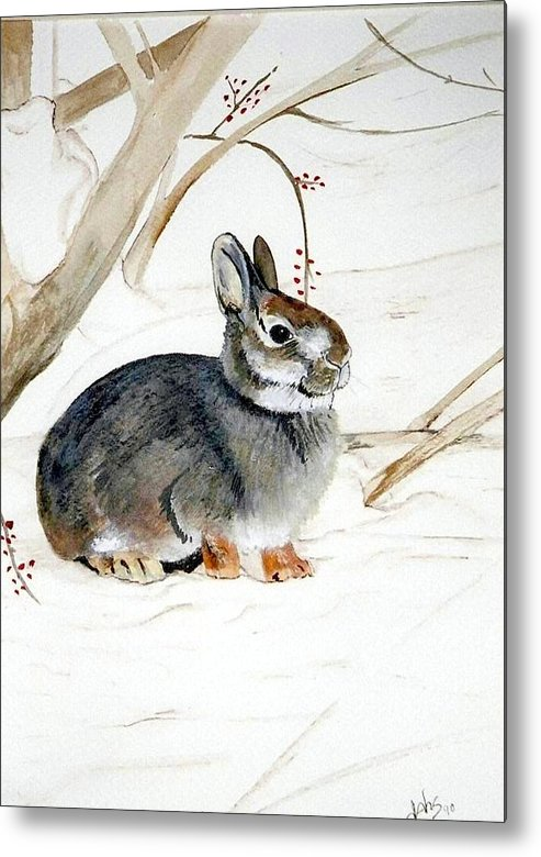 Rabbit Metal Print featuring the painting Early Snow by Debra Sandstrom