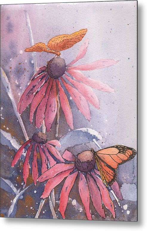 Flower Metal Print featuring the painting Echinacea And Butterflies by Robynne Hardison