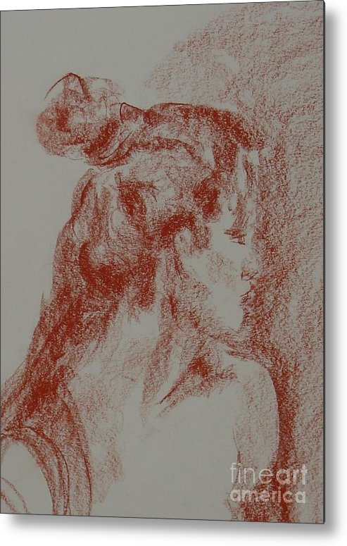 Portrait Woman Original Drawing Leilaatkinson Metal Print featuring the painting Elusive by Leila Atkinson