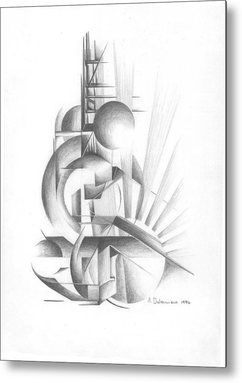 Abstract Metal Print featuring the drawing Equilibre by Muriel Dolemieux