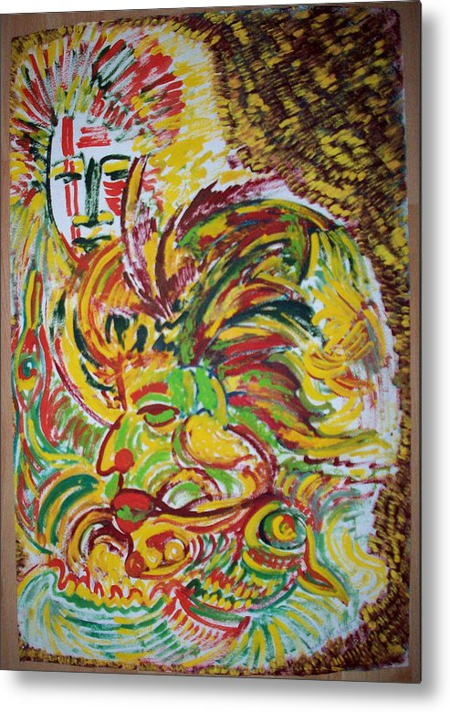 Ethnic Metal Print featuring the painting Ethnic by Helene Champaloux-Saraswati