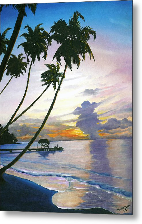 Ocean Painting Seascape Painting Beach Painting Sunset Painting Tropical Painting Tropical Painting Palm Tree Painting Tobago Painting Caribbean Painting Original Oil Of The Sun Setting Over Pigeon Point Tobago Metal Print featuring the painting Eventide Tobago by Karin Dawn Kelshall- Best