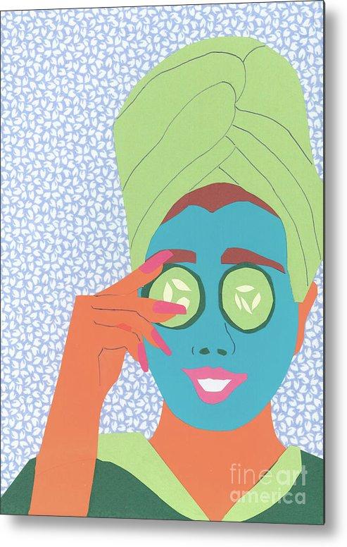 Face Metal Print featuring the mixed media Facial Masque by Debra Bretton Robinson