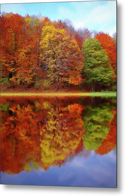 Fall Waters Metal Print featuring the painting Fall Waters by Harry Warrick