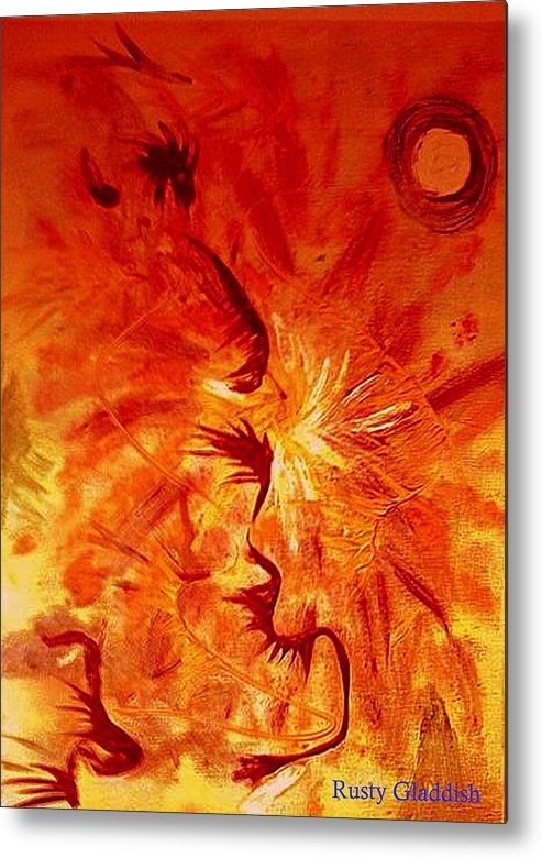 Abstract Metal Print featuring the painting Firebrand by Rusty Woodward Gladdish