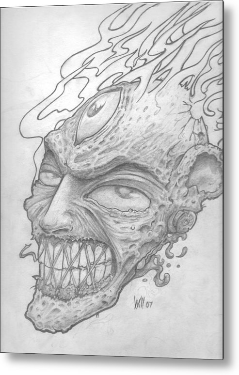 Zombie Metal Print featuring the drawing Flamehead by Will Le Beouf