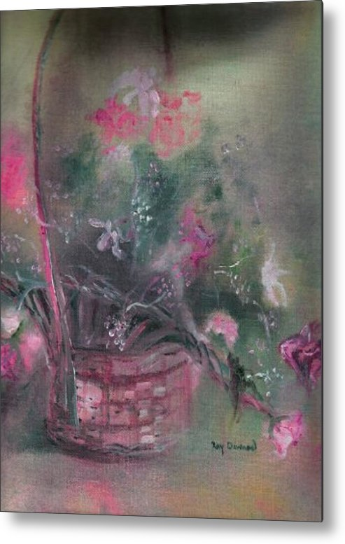 Flowers Basket Gift Gift Basket Nature Metal Print featuring the painting Flower Basket by Raymond Doward