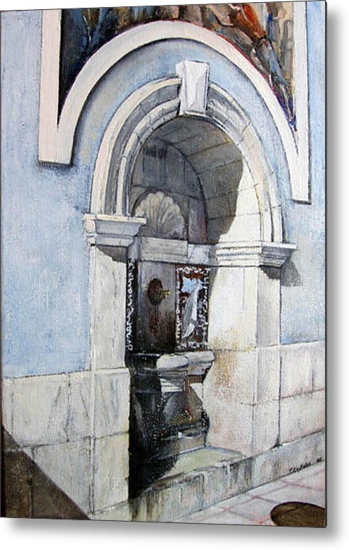 Fuente Metal Print featuring the painting Fuente Castro Urdiales by Tomas Castano