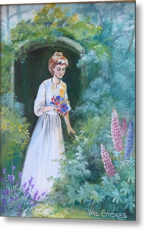 Garden Metal Print featuring the painting Garden Walk - B by Val Stokes