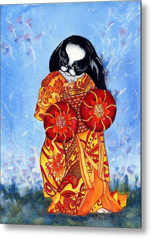 Japanese Chin Metal Print featuring the painting Geisha Chin by Kathleen Sepulveda
