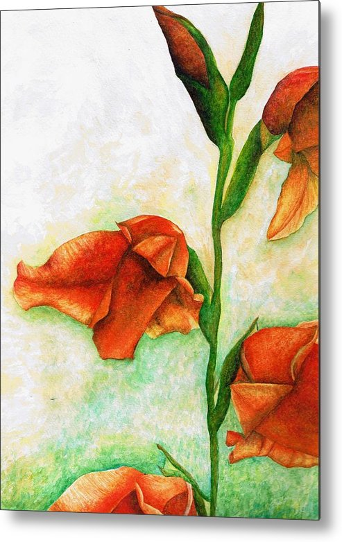 Flower Metal Print featuring the painting Gladiolas by Brandon Sharp