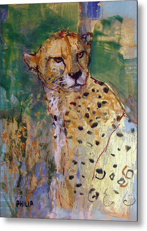 Cheetah Metal Print featuring the painting Golden Cheetah by Michelle Philip
