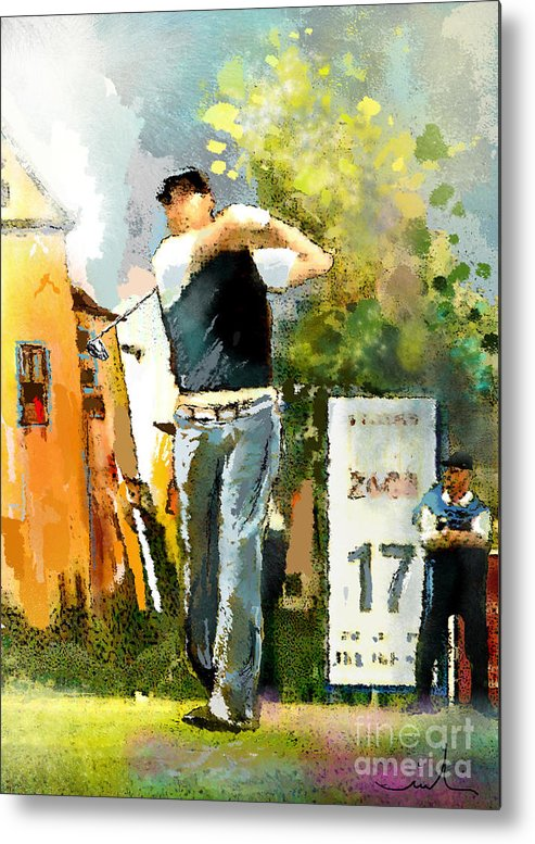 Golf Metal Print featuring the painting Golf In Club Fontana Austria 01 Dyptic Part 01 by Miki De Goodaboom