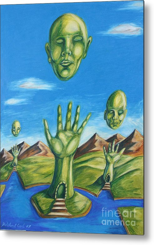 Surreal Landscape Metal Print featuring the drawing Reach For The Mind by Michael Cook