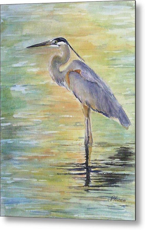 Great Blue Heron Metal Print featuring the painting Heron At The Lagoon by Patricia Pushaw