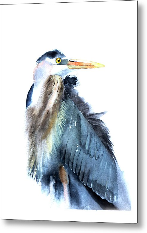 Heron Metal Print featuring the painting Heron by Paintis Passion