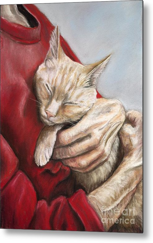 Cat Metal Print featuring the painting Hold Me Tight by Charlotte Yealey