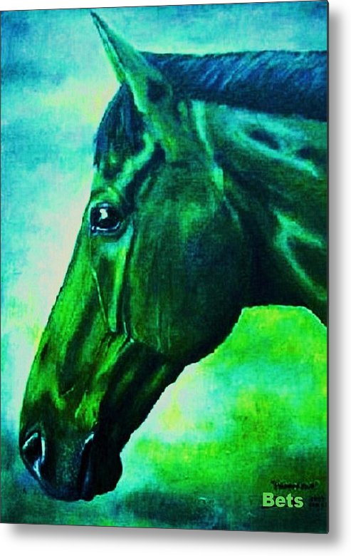 Horse Art Metal Print featuring the painting horse portrait PRINCETON blue green by Bets Klieger