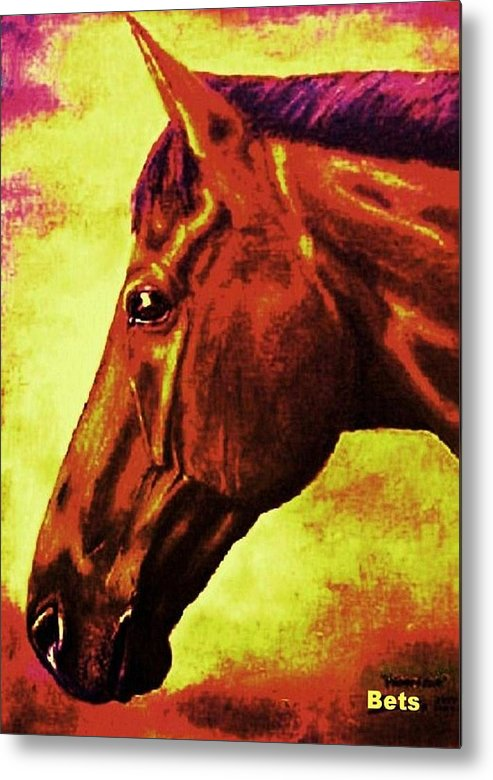 Horse Art Metal Print featuring the painting horse portrait PRINCETON purple brown yellow by Bets Klieger