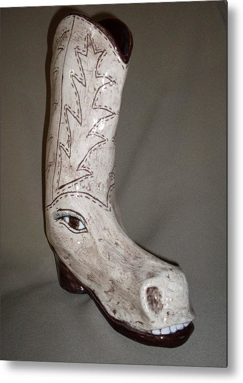 Horse Shoe Pun Joke Funny Humor Boot Metal Print featuring the sculpture Horseshoe by Sally Van Driest