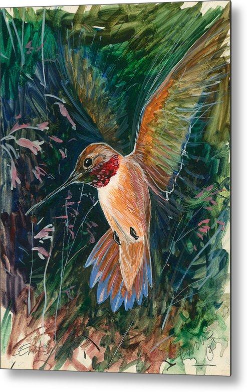 Hummingbird Metal Print featuring the painting Hummingbird by Shari Erickson
