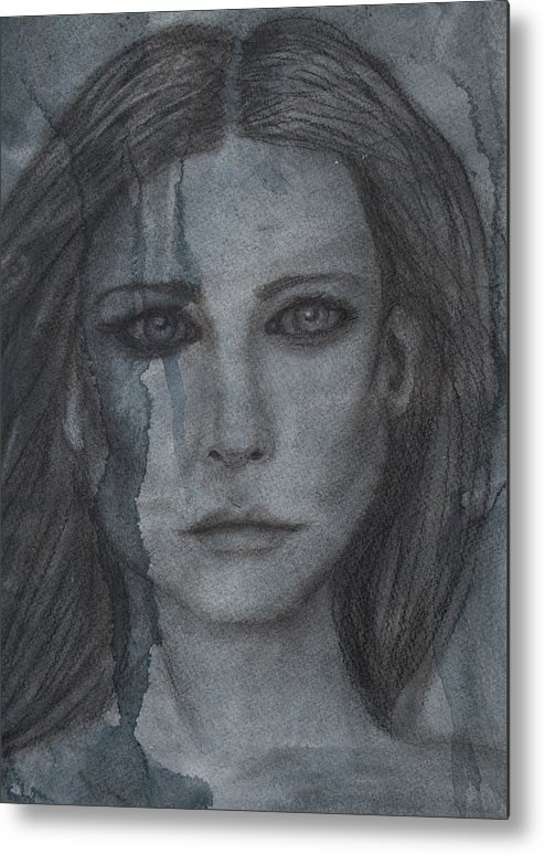 Portrait Metal Print featuring the mixed media Hurt by Christine Howe