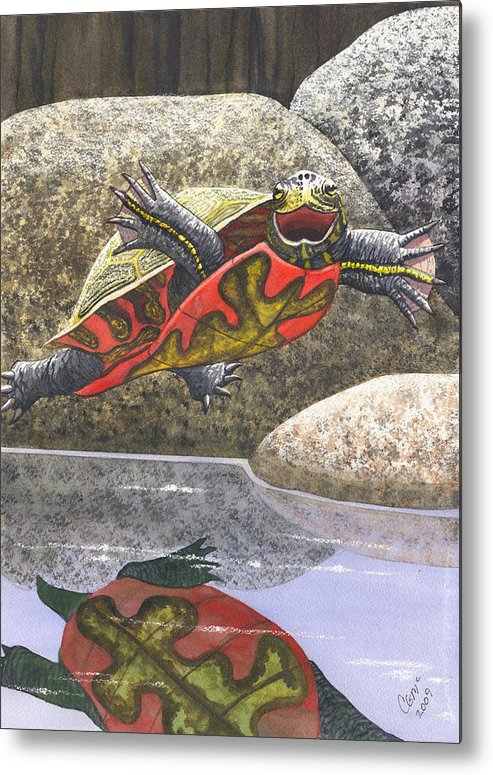 Turtle Metal Print featuring the painting Im Flying by Catherine G McElroy