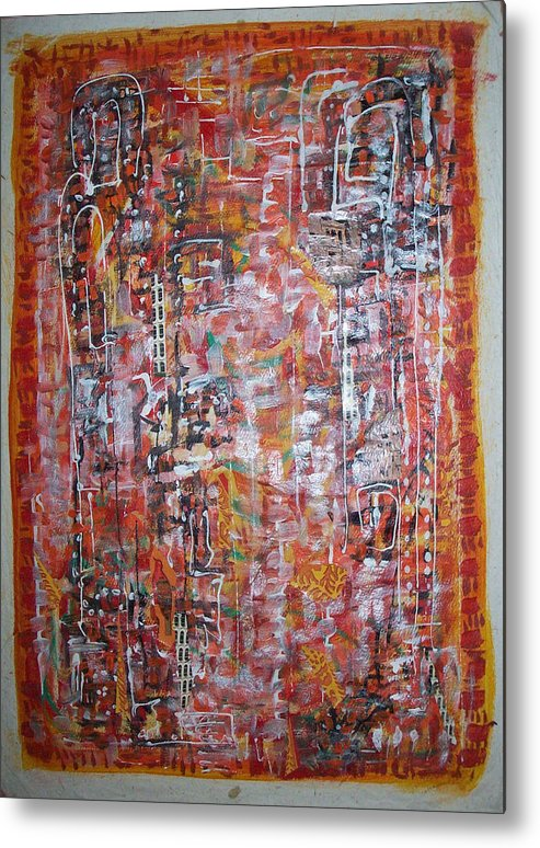 Abstract Metal Print featuring the painting Indian Light by Helene Champaloux-Saraswati