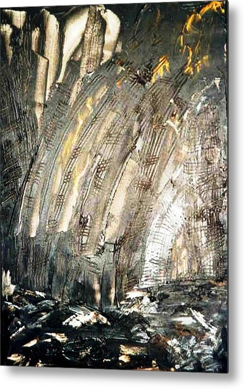 Black Metal Print featuring the painting Inferno by Bruce Combs - REACH BEYOND
