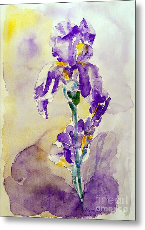 Flower Metal Print featuring the painting Iris 2 by Jasna Dragun