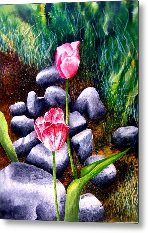 Tulips Metal Print featuring the print Isaiah's Tulips by JoLyn Holladay