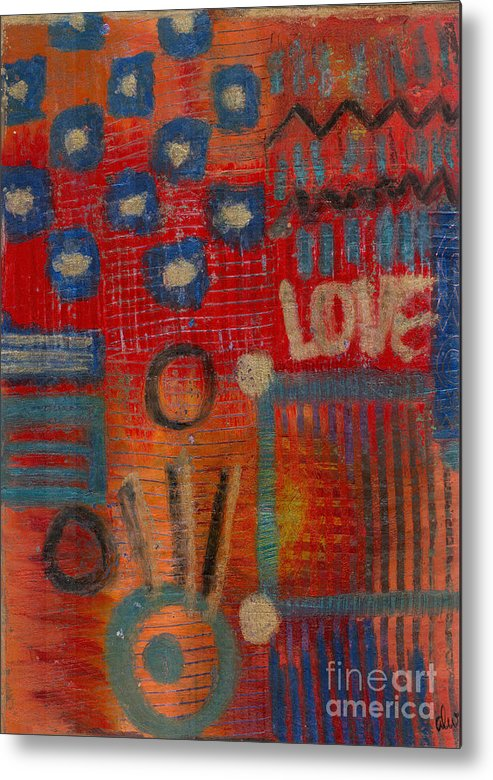 Gretting Cards Metal Print featuring the mixed media It's Love by Angela L Walker