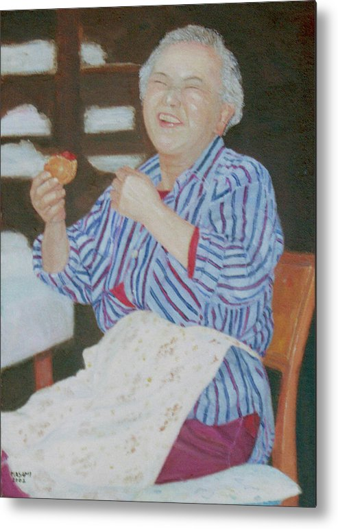 Portrait Metal Print featuring the painting Japanese Sweet Lover by Masami Iida