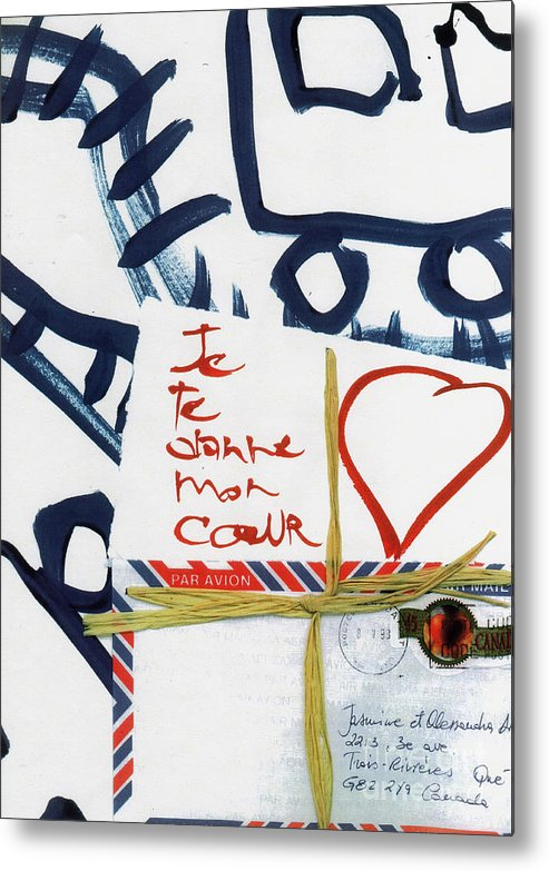Metal Print featuring the painting Je Te Donne Mon Coeur by Alessandra Di Noto