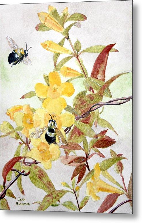 Jasmine Metal Print featuring the painting Jessamine Bee Mine by Jean Blackmer