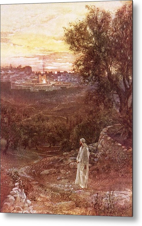 Bible; Jesus Christ; Mount Of Olives Metal Print featuring the painting Jesus On The Mount Of Olives by William Brassey Hole