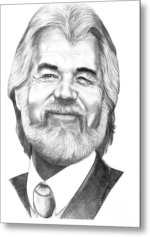 Music Metal Print featuring the drawing Kenny Rogers by Murphy Elliott