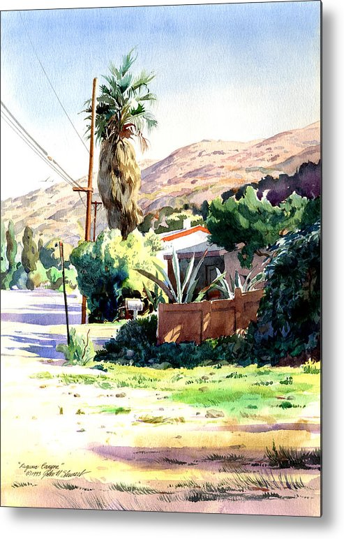 Watercolor Metal Print featuring the painting Laguna Canyon Palm by John Norman Stewart