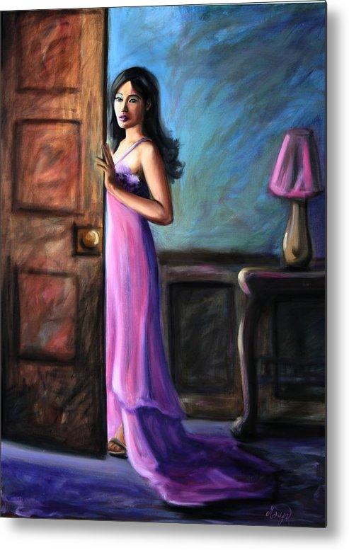 Woman Metal Print featuring the painting Last Glance by Maryn Crawford