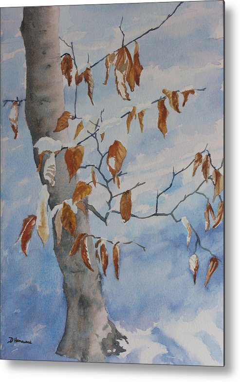 Beech Leaves Metal Print featuring the painting Last Leaves by Debbie Homewood