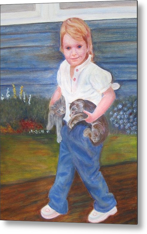 Child Metal Print featuring the painting Leah by Patricia Ortman