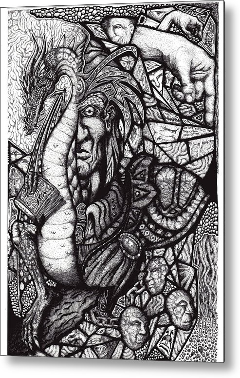 Pen And Ink Metal Print featuring the drawing Legend by Tobey Anderson