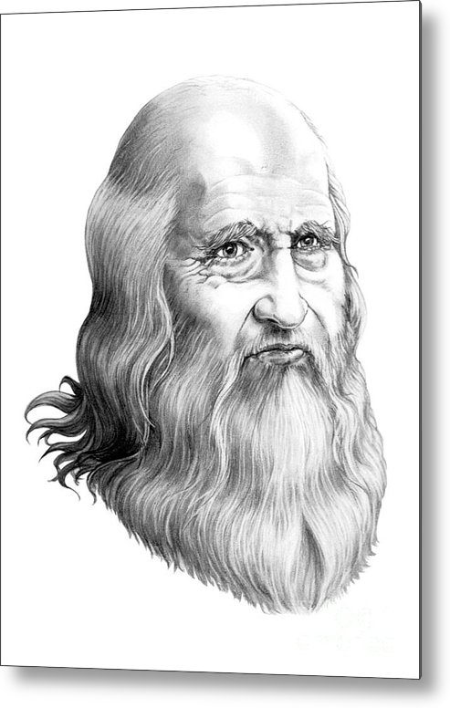 Famous Person Metal Print featuring the drawing Leonardo Da Vinci by Murphy Elliott