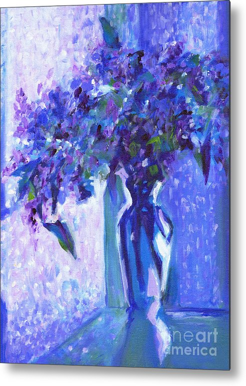 Acrylic Painting Metal Print featuring the painting Lilac Rain by Tanya Filichkin