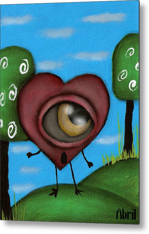 Heart Metal Print featuring the painting Looking For You by Abril Andrade Griffith