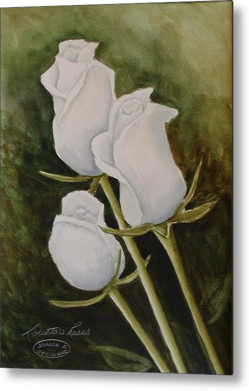 White Roses Original Watercolour Floral Metal Print featuring the painting Lorettas Roses by Sharon Steinhaus